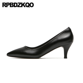 Winkle Picker Elegant Women Size 4 34 Medium Heels High Black 2019 Stiletto 33 Shoes Leather Pumps Low Kitten Pointed Toe 3 Inch