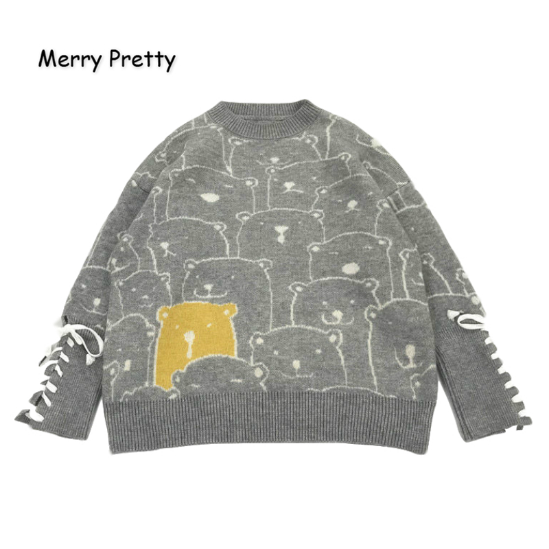 MERRY PRETTY Women's' Cartoon Bear Embroidery Harajuku Knitted Sweaters 2019 Winter Thick Warm Jacquard Sweater Knit Pullovers
