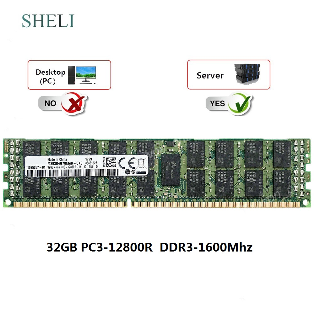 Samsung 32GB 4RX4 PC3-12800R DDR3-1600MHz 240pin ECC Registered Server RDIMM RAM