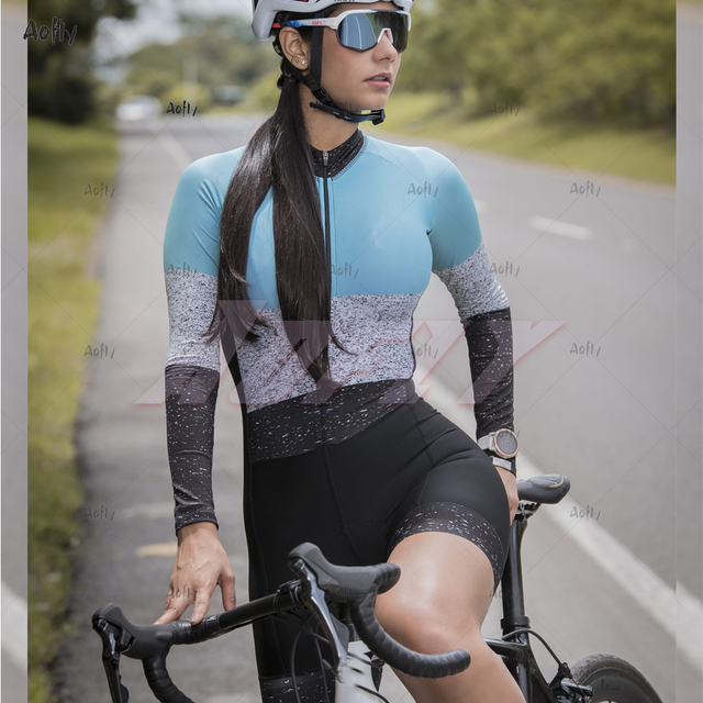 Kafitt jasper coleção manga longa ciclismo skinsuit pro feminino bicicleta macacão uniforme ciclismo triathlon ciclismo skinsuit 1