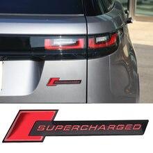 Supercharged emblema de metal cauda do carro tronco adesivo para land rover audi s6 rover range evoque sport defender vela turbo placa de identificação