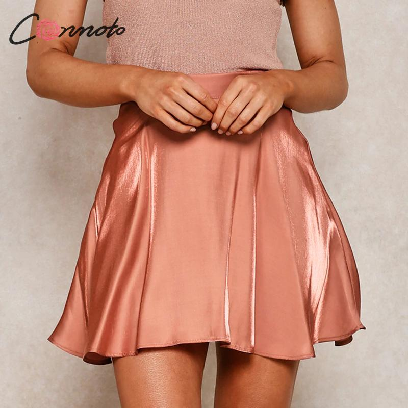 Conmoto Ruffles High Waist Solid Satin Skirts Women Short Summer Beach Casual Skirts 2020 Vintage Sexy Ladies Skirt