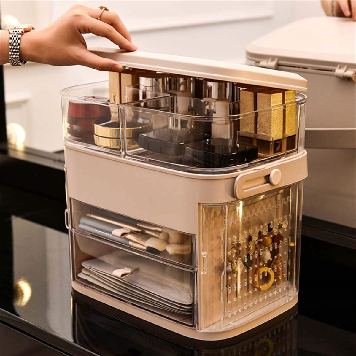 Rotate Multi-layer Drawer Dressing Table Makeup Holder Cosmetic Storage Box Folding Jewelry Box For Jewelry Cosmetic Organizer