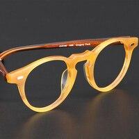 Round Vintage Acetate Eyeglasses Frames Gregory Peck OV5186 Women Prescription Myopia Optical Clear Frames Screwless Eyewear