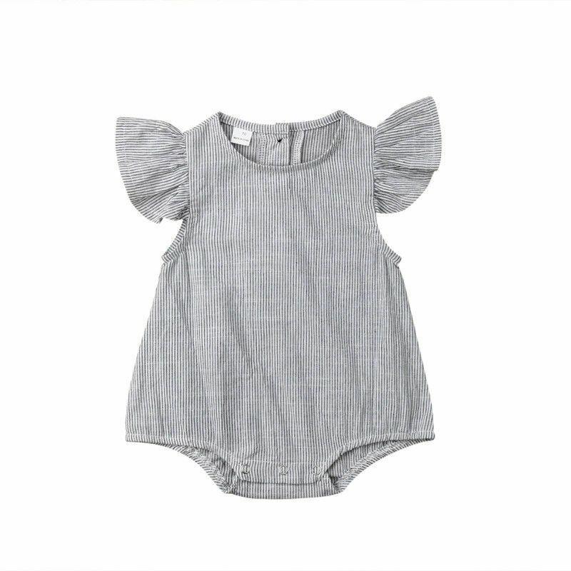 0-18months New Born Baby Girls Cotton Striped Ruffle Sleeve Bodysuits One-piece