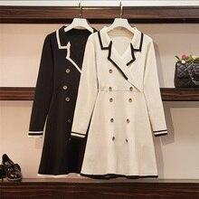 Осеннее офисное двубортное трикотажное платье-свитер, Женский пуловер хитового цвета с длинным рукавом, элегантное мини-платье трапециевидной формы