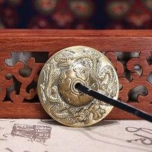 1 пара рельефный буддийский счастливый тарелка ручной работы прочный музыкальный ритм Tingsha Bell музыкальный инструмент тибетская Медитация