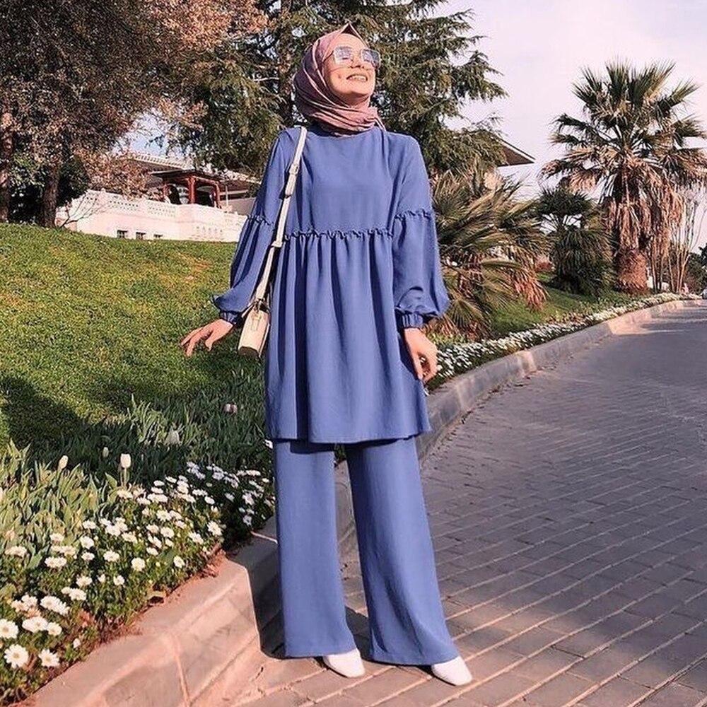 Ramadan Two Piece Set Muslim Women Sets Arab Turkey Islam Solid Tops and Long Pant Islamic
