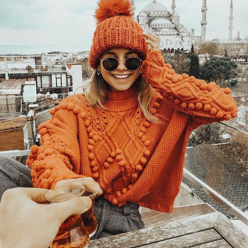 Sweater Kiyumi Orange Pullover Sweaters 2018 Winter Clothes Women Hair Ball High Collar Loose Urban Gypsy Turtleneck Sweater New