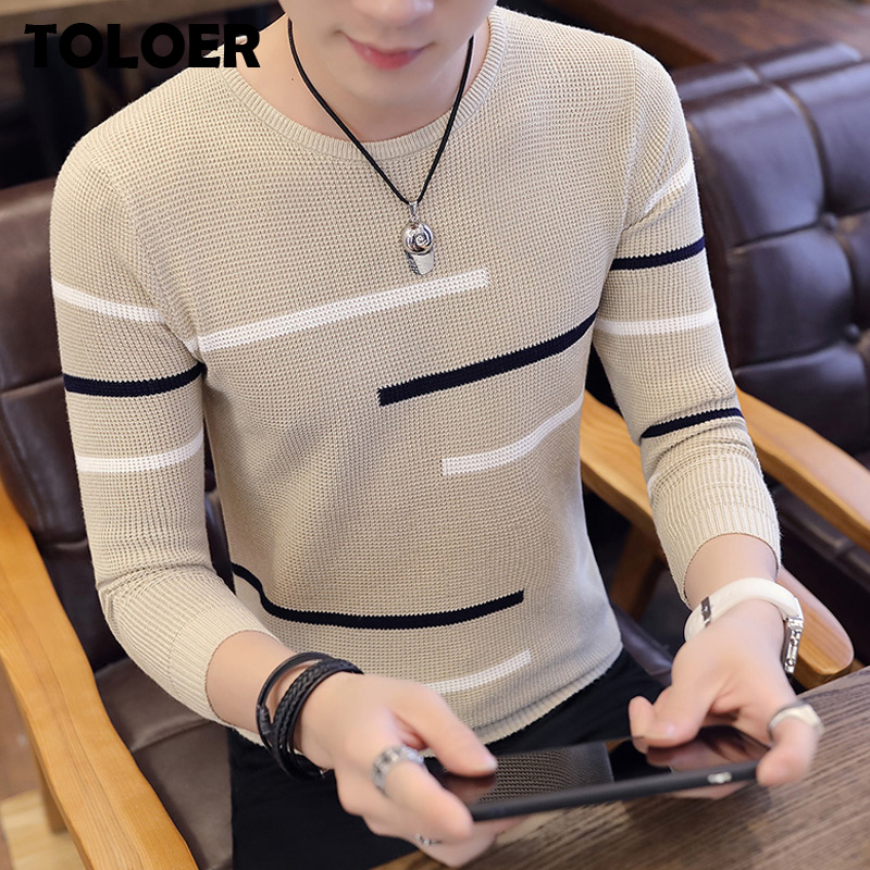 Sweaters And Pullovers Men Slim Style Navy Long Sleeve Knitted Sweater Homme High Quality Winter Pullovers Warm Ployester Coat