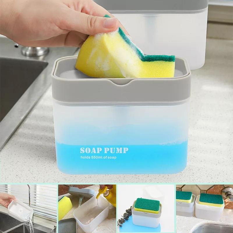 Imprensa tipo caixa de sabão esponja dispensador de sabão distribuidor automático cozinha máquina de lavar louça sabão recipiente detergente ferramentas da cozinha