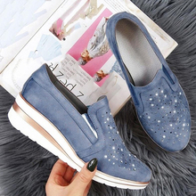 Woman spring autumn loafer light weight platform casual shoes Rhinestone Shining