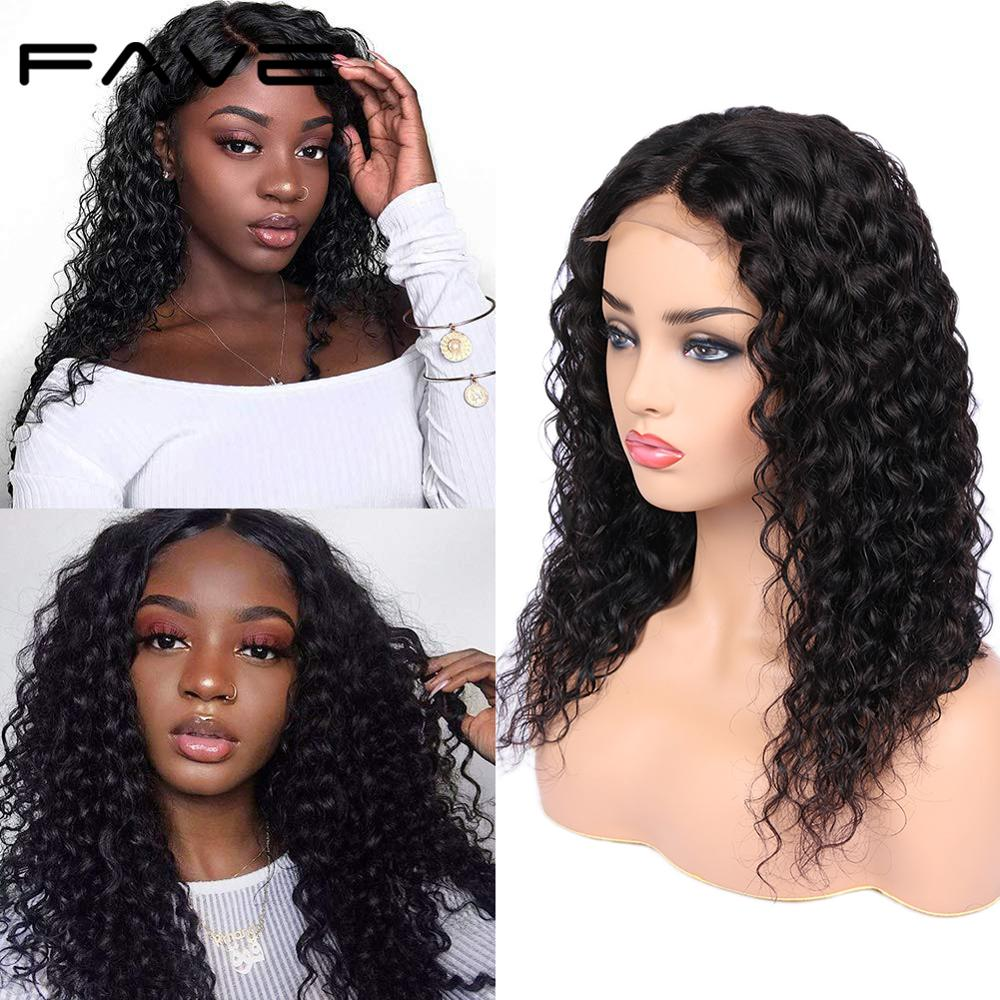 "FAVE Brazilian Remy Human Hair Wig 4x4 Lace Closure Water Wave Wigs 150% Density 8-24""Pre-Plucked Bleached Knots For Black Women"