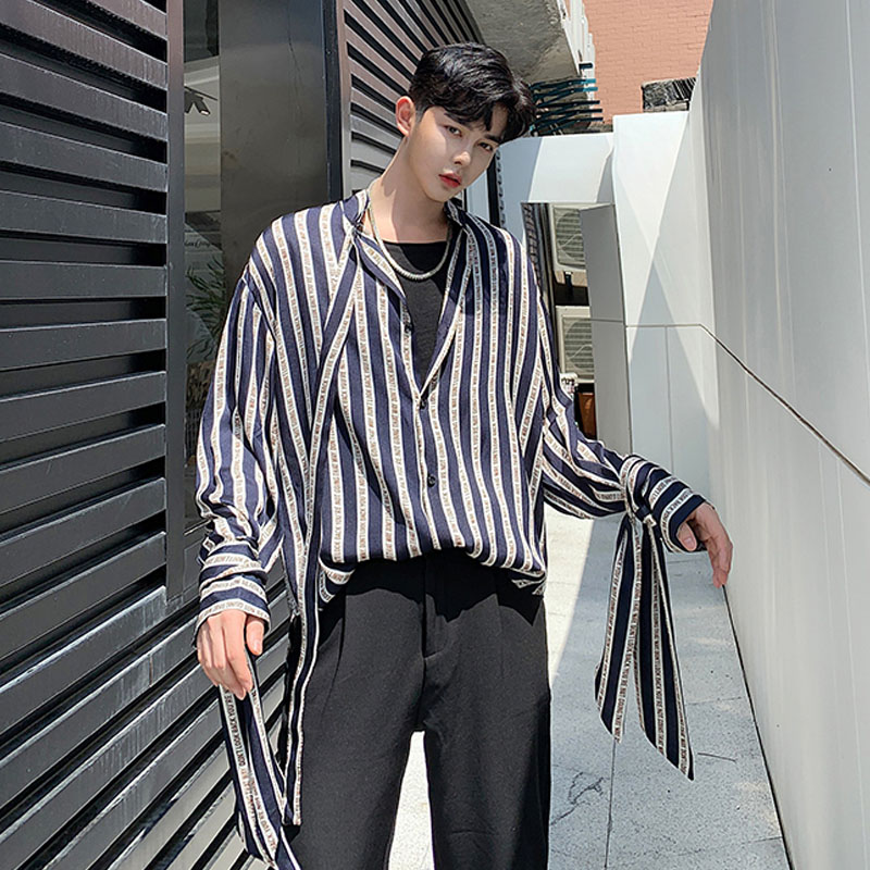 Men Long Sleeve Ribbon Design Loose Casual Stripe Shirt Male Streetwear Hip Hop Vintage Shirts Stage Clothing