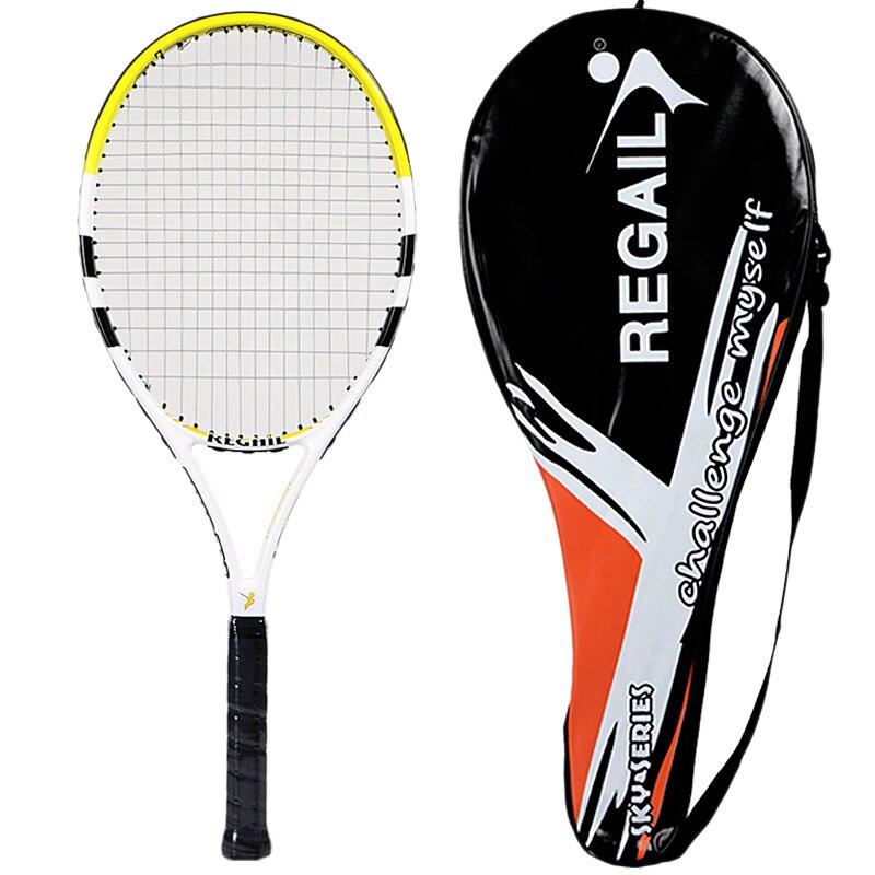Regail 1 Piece Tennis Racket Carbon Fiber Women Man Male Tennis Racket For Match Game Training With Free Bag