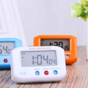 Przenośne elektryczne zegar pulpit Alarm elektroniczny ekran LCD Data czas kalendarz mały stół zegar na biurko do sypialni Reloj De Mesa tanie i dobre opinie CN (pochodzenie) Z tworzywa sztucznego Luminova JJ19066-01B Stoper Z podświetleniem 45mm DIGITAL 6 cal Tradycyjny chiński