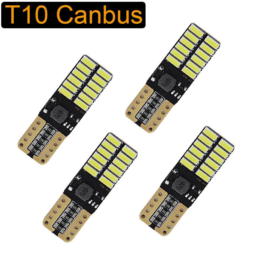 Led-Bulb License-Plate-Lights 4014 24SMD W5W Canbus 5w5 White 6000K T10 12V 4PCS Car