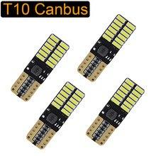 4 pces t10 lâmpada led canbus 5w5 carro w5w conduziu a luz do sinal 12v 6000k luzes da placa de licença 4014 24smd branco