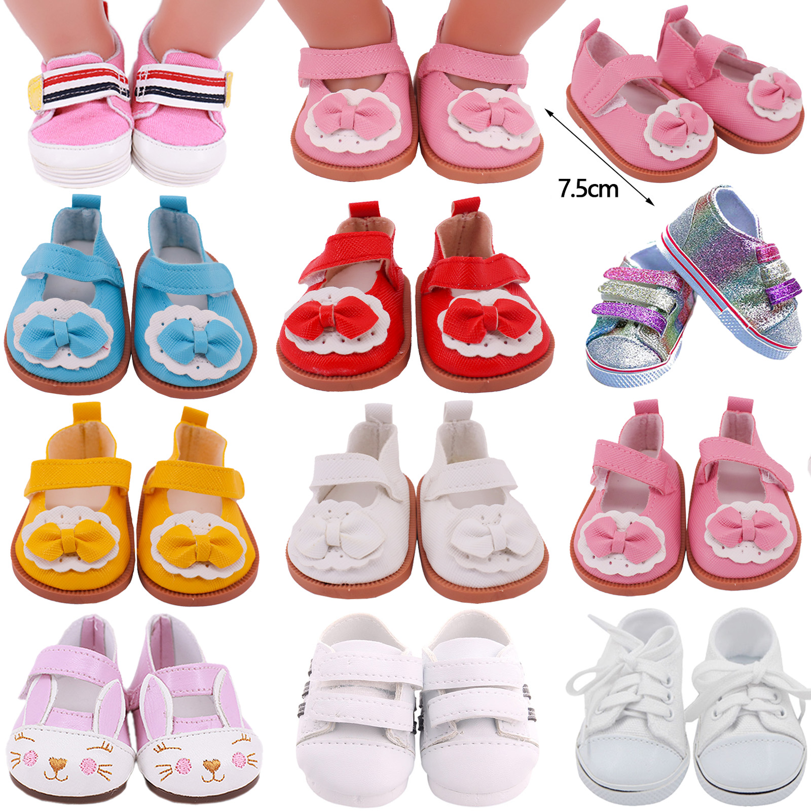 7Cm Doll Clothes Doll Shoes Sequin Canvas Shoes For 18 Inch American of girl`s&43Cm Baby New Born Reborn Doll Toy 1/3 BJD Blythe