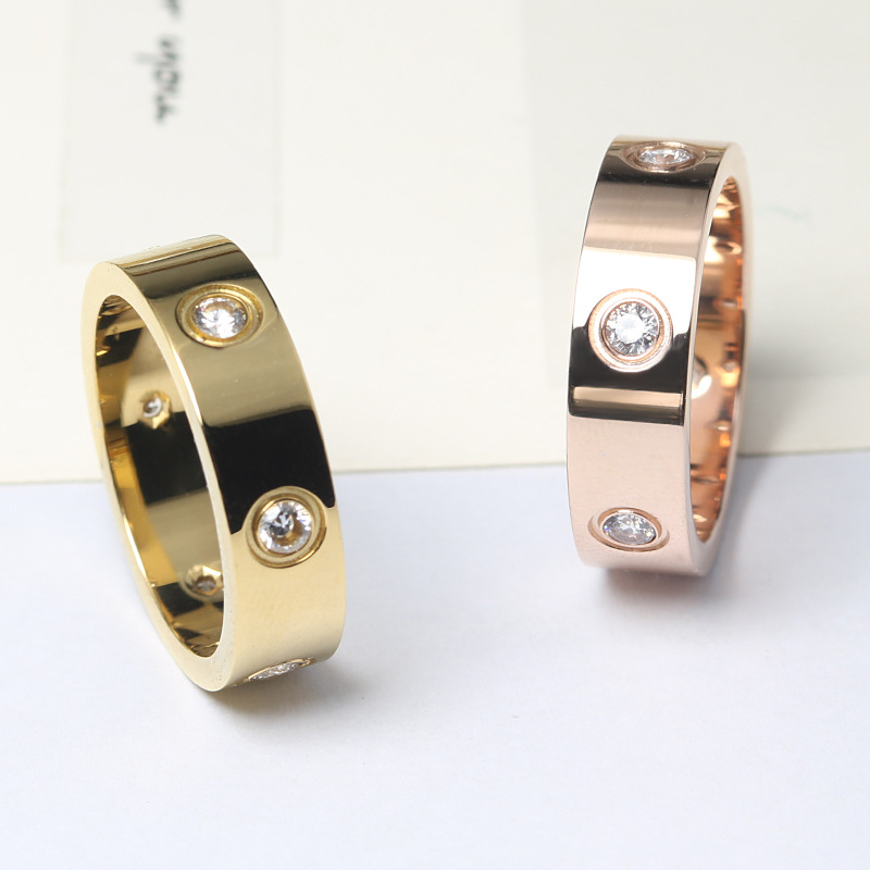 Fashion Philip's Head Screw Zircon Ring Simple Stainless Steel Men's Ring Rose Gold Women's Ring Hot Sale 3
