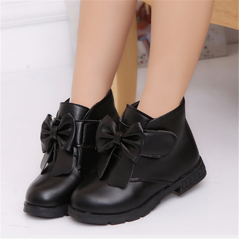 Girls Boots Ankle Bow PU Leather Kids Winter Boots For Girls Little Children Shoes Autumn Winter Solid Black Red Size 26-36