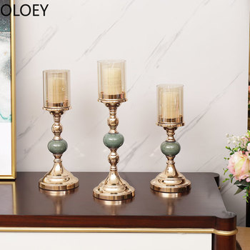 Nordic Candle Stand and Set Gold Romantic Candle Holder Glass Metal Candlestick Living Room Centerpieces Candlestick Europe Hot