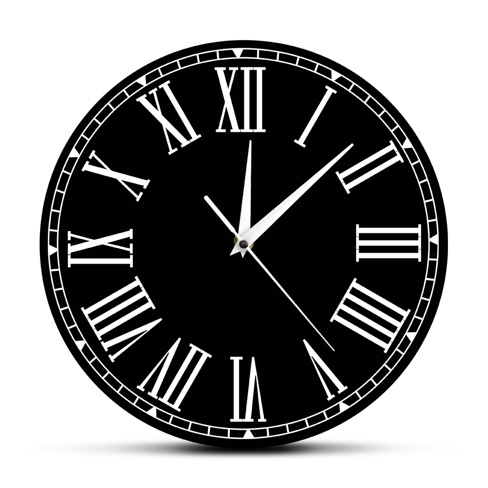 Silent Movement Non-Ticking Roman Numerals Acrylic Wall Clock Personalized Custom Name Decorative Wall Hanging Timepiece Watch