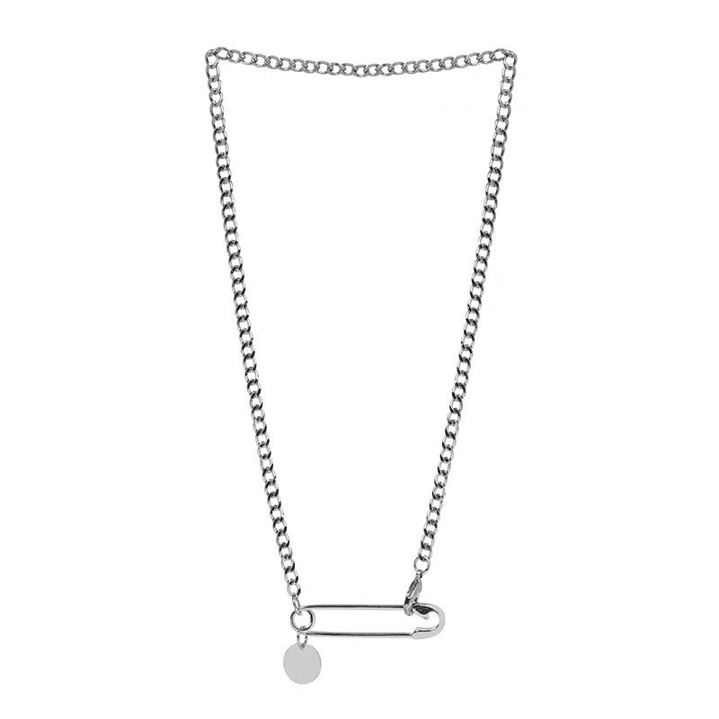 Personality simple pin shape niche design necklace female hip hop rock fashion sweater chain silver