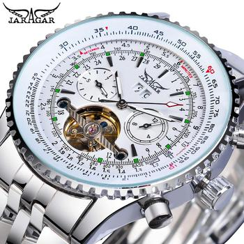 Jaragar Classic Tourbillon Men Mechanical Watch White Automatic Calendar Big Dial Stainless Steel Band Military Pilot Wristwatch full automatic mechanical man wristwatch waterproof steel band fashion calendar watch attached leather strap