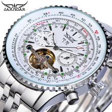 Jaragar Classic Tourbillon Men Mechanical Watch White Automatic Calendar Big Dia