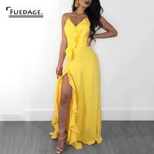 Женское шифоновое платье макси Fuedage, желтое вечернее облегающее платье с V образным вырезом и открытой спиной, длинное платье с высоким разрезом и оборками, на летоПлатья    АлиЭкспресс