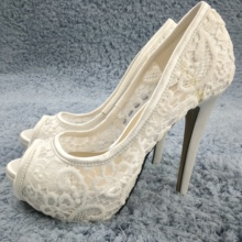 цена на Sexy Ivory Satin Pumps High Heel Wedding Bridals Dress Party Women Pumps Summer New Peep Toe Platform Stiletto 14cm Heels Shoes