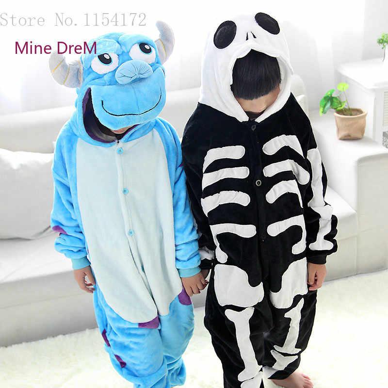 Unisex Kigurumi giyim İskelet & Sullivan hayvanlı pijama pijama tulum çocuk giysileri bebek tulum pazen Onesies kostüm
