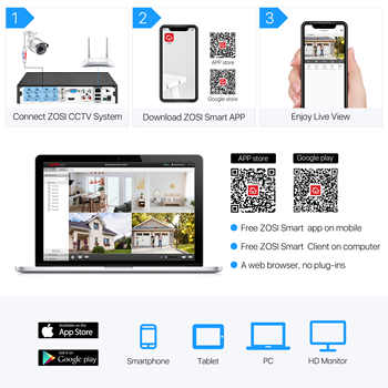 ZOSI 1080P 8ch street camcorder AHD TVI CVI CCTV System DVR videcam Outdoor Video Nightvision System Surveillance DVR Kit HDD