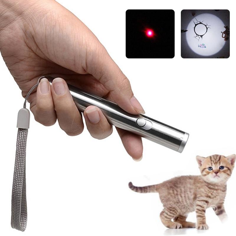2 в 1, лазерный фонарик, портативный светодиодный мини-светильник, светильник-вспышка, инфракрасный, для домашних животных, кошек, игрушка