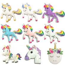 (Diseño a elegir primero) 10 unidades/bolsa colgante de unicornio arcoíris esmaltado en Color plateado para collar DIY, accesorios para fabricación de joyas