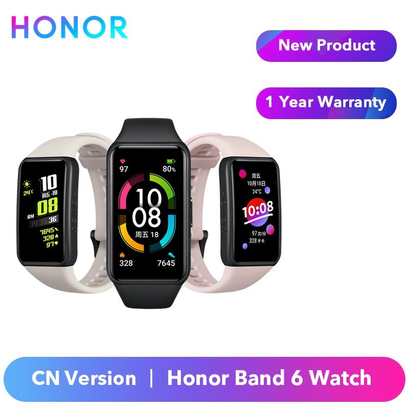 Original Honor Band 6 Bracelet Bracelet intelligent montre CN Version moniteur de fréquence cardiaque sang oxygène écran tactile Amoled étanche | AliExpress