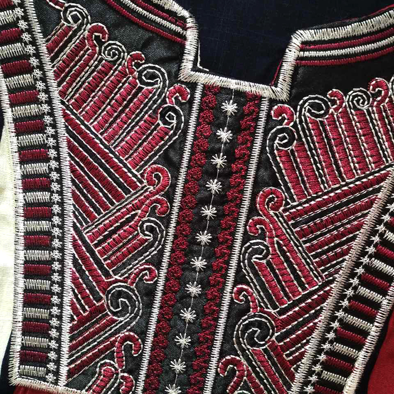 Arab Ethin Collar Embroidery Maroon Striped Abaya for Lady Cotton Muslim Robe