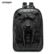 3D Stereoscopic Saber-toothed Tiger Backpack Head mochila Mens Personality Rivets plecak Outdoor Travel sırt çantası