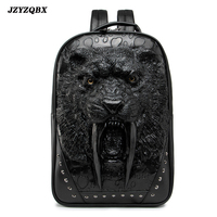 3D Stereoscopic Saber toothed Tiger Backpack Tiger Head mochila Men's Personality Rivets plecak Outdoor Travel sırt çantası