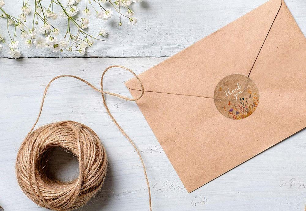 Купить с кэшбэком Kraft Paper Flowers thank you stickers seal labels handmade custom sticker scrapbooking for gift decoration stationery sticker