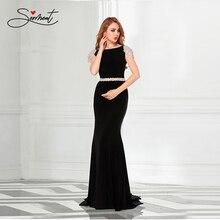 SERMENT Luxury Elegant Knitted Fabric Handmade Beaded Mermaid Prom Dress Party Banquet Slim Floor-Length