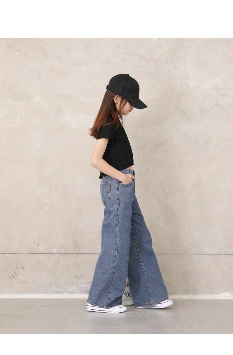 Teenage Girls Jeans 2020 Spring Summer Casual Fashion Loose Blue Kids Leg Wide Pants School Children Trousers 6 8 10 12 Year