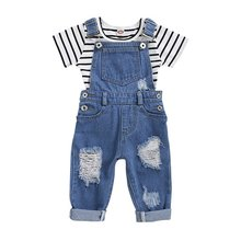 2020 Summer Baby Girls Striped Print Tops Hole Denim Braces Pants Jeans Casual Clothes Set kids slogan print striped tee with jeans