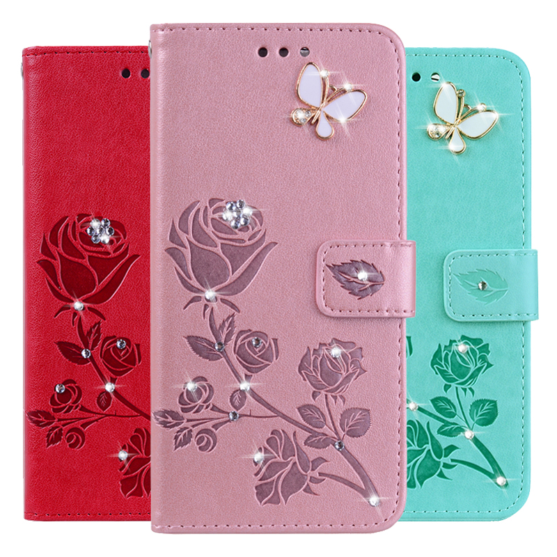 3D Flower Leather Case for <font><b>Blackview</b></font> S6 Max 1 <font><b>P6000</b></font> A60 A80 <font><b>Pro</b></font> A20 A30 S8 Wallet Phone Cover Diamond Butterfly image