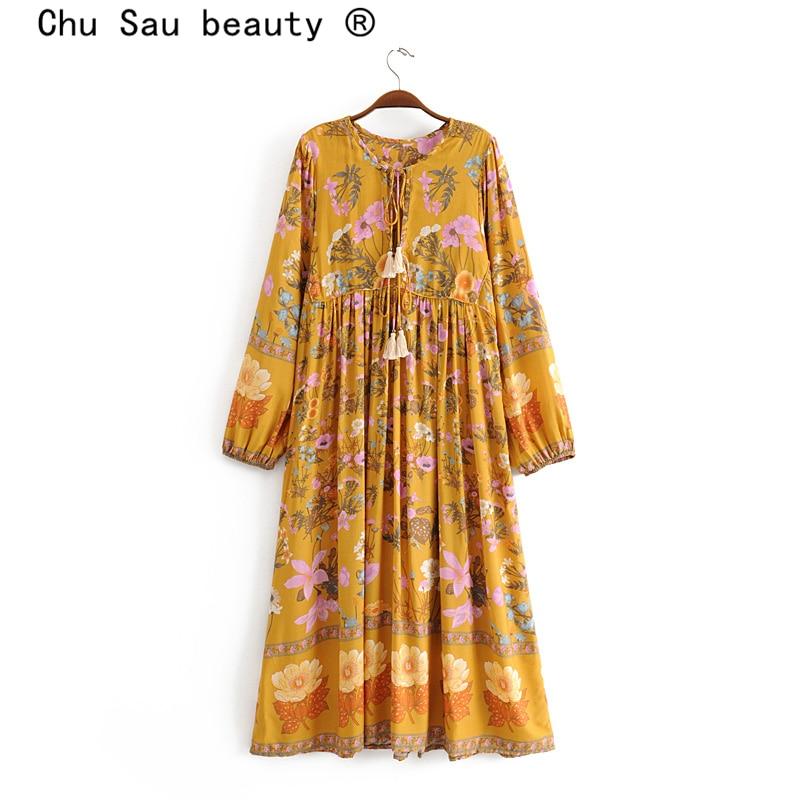 Chu Sau Beauty 2019 Boho Chic Floral Print Maxi Dress Women Holiday New Fashion Tassel Loose Long Dresses Female Holiday Wear