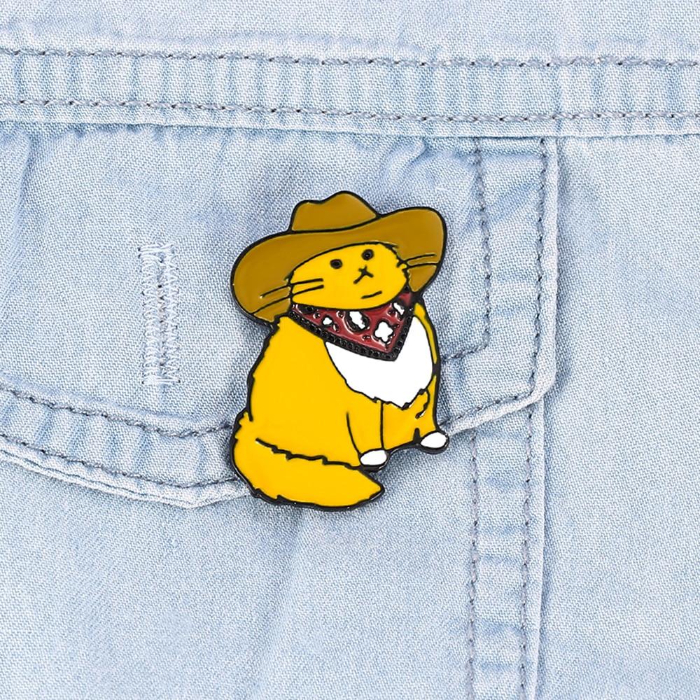 Cowboy pin esmalte amarelo sr. gato meowdy, bonito kitty western kitty, feliz natal, meffer