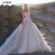 LORIE Elegant Full Sleeve Lace Wedding Dresses 2020 A Line Romantic Button Back Appliques Boho Bridal Gown Marriage Custom Made