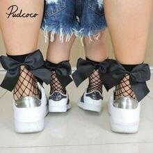Pudcoco женские сетчатые носки для девочек женские повседневные Стрейчевые прозрачная в крупную сетку сетчатые носки удобные кружевные носки с бантиком по щиколотку