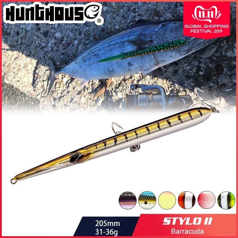 Hunthouse isca de pesca agulha stylo longo fundição lápis flutuante 205/180/160mm isca artificial leurre souple carpa isca de pesca